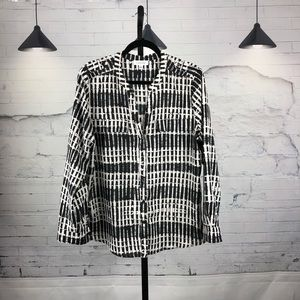 Calvin Klein Two Pocket Dress Blouse LS Large 1754
